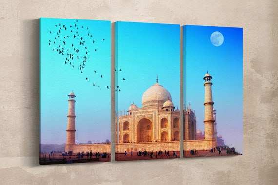 3 Panel Taj Mahal Leather Print/Large Wall Art/Large Taj Mahal Print/Multi Panel Wall Art/Wall Decor/Made in Italy/Better than Canvas!
