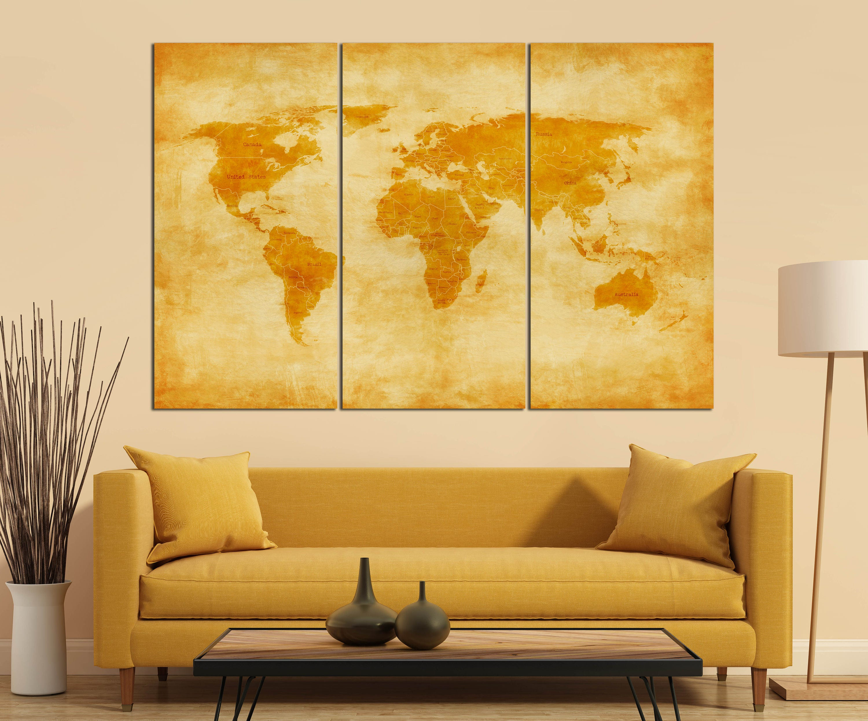 3 Panel Vintage World Map with Borders and Nations Leather Print ...