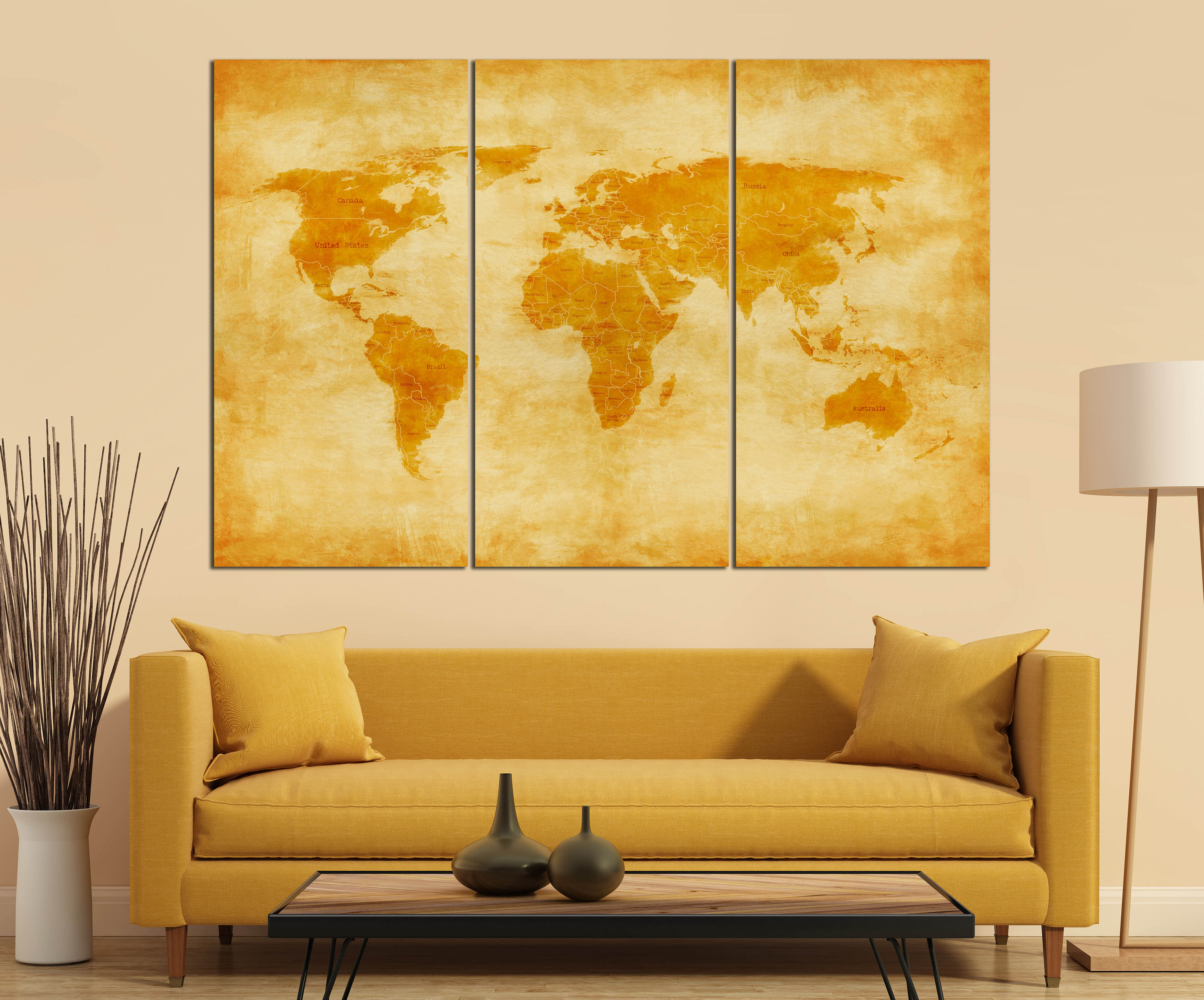 3 panel vintage world map with borders and nations leather print 3 panel vintage world map with borders and nations leather printlarge wall artextra large world mapmulti panel mapbetter than canvas gumiabroncs Images