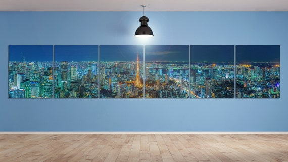 5/6 Panel Split Tokyo Skyline Panorama, Japan Leather Print/Multi Pieces Print/Extra Large Print/Wall Art/Wall Decor/Better than Canvas!