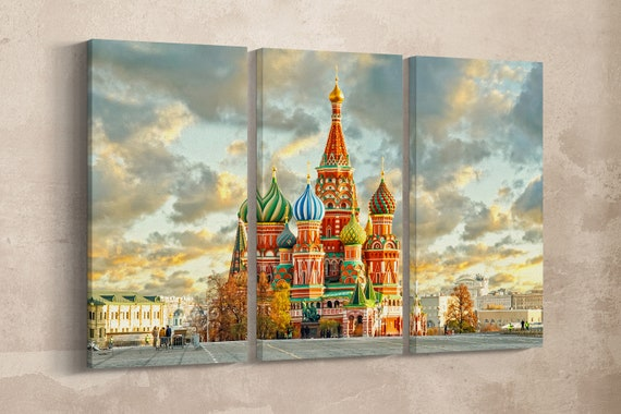 3 Panel Saint Basil's Cathedral, Moscow, Russia Leather Print/Large Wall Art/Multi Panel Wall Art/Made in Italy/Better than Canvas!