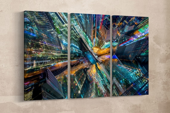 3 Pieces City Lights Artwork Leather Print/Large Wall Art/Large Wall Decor/Multi Panel Wall Art/Modern Art/Made in Italy/Better than Canvas!