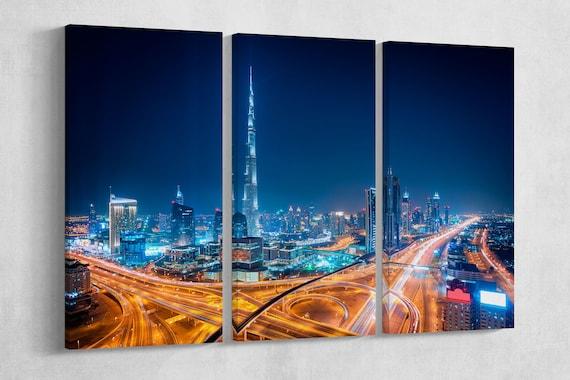 Dubai Night Leather Print/Multi Panels Print/Multi Pieces print/Wall Art/Extra Large Print/Better than Canvas!