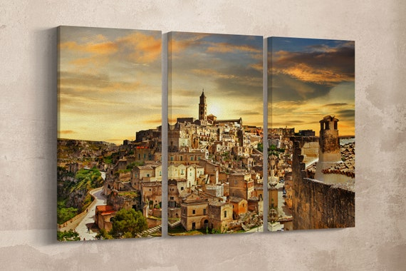 3 Pieces Matera, Italy Leather Print/Large Wall Art/Matera Large Print/Italy Landscape Wall Art/Matera Wall Decor/Better than Canvas!