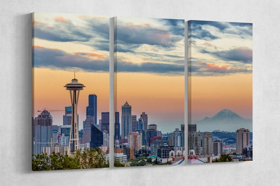 Seattle Skyline Leather Print/Wall Art/Wall Decor/US/City and Skyline/Seattle Large Print/Multi Panel Print/Better than Canvas!