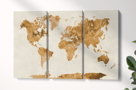 Colored World Map artwork triptych framed canvas leather print/Large wall art/World map canvas/World map wall art/Made in Italy