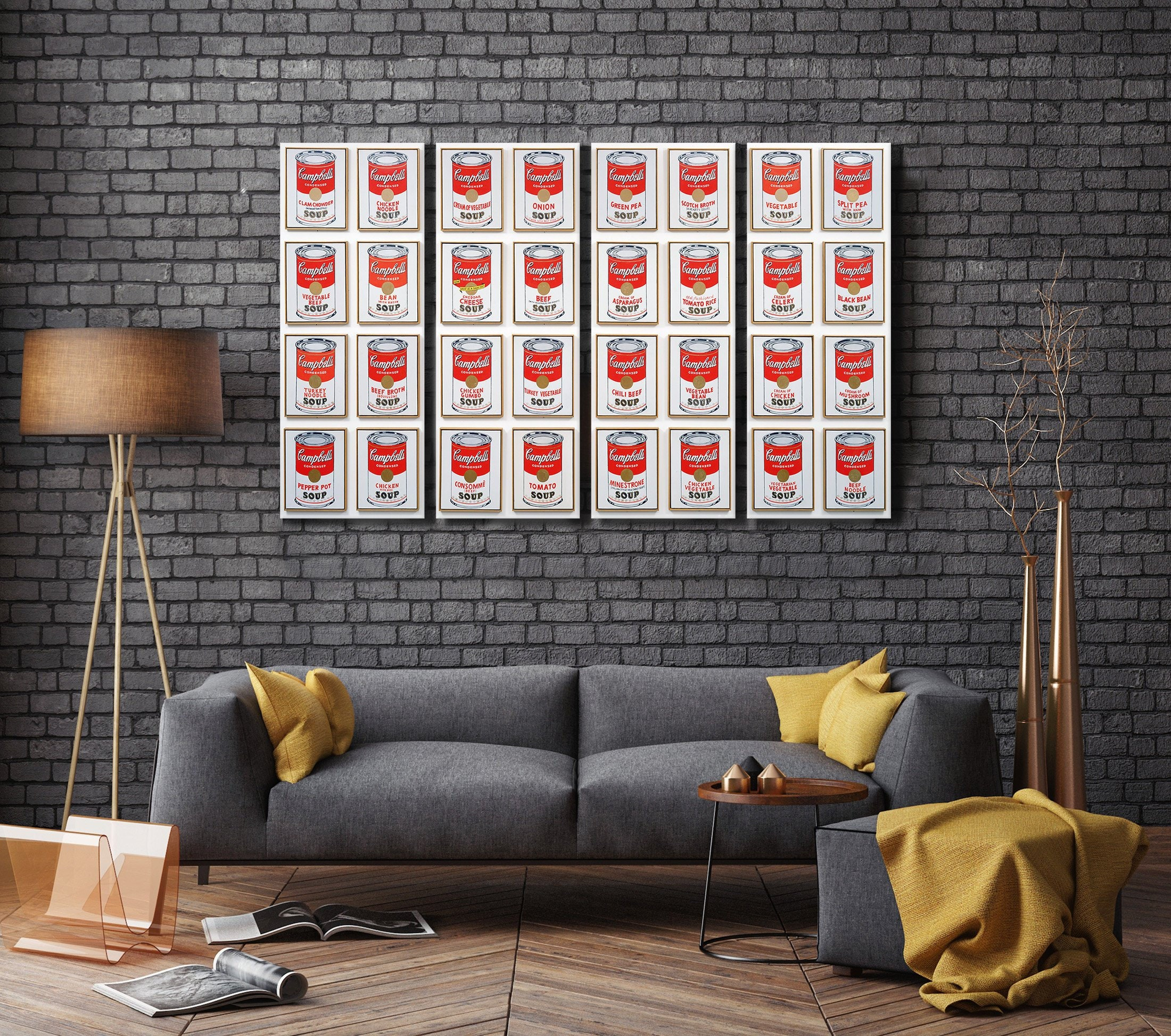 Campbells soup cans andy warhol leather print 1962 warhol art moma wall art pop art large wall art made in italy better than canvas