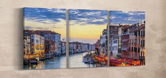Grand Canal with Gondolas at Sunset, Venezia Leather Print/Large Wall Decor/Venice Wall Art/Multi Panel Wall Art/Better than Canvas!