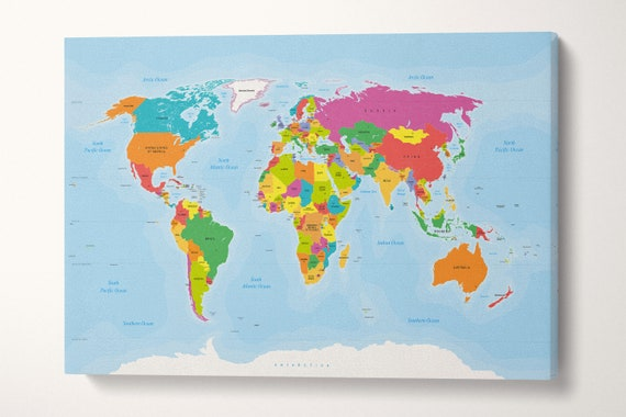 Push Pin Large Detailed World Map Leather Print/Big Size World Map/Large Wall Art/Push Pin Map/Extra Large World Map/Better than Canvas!