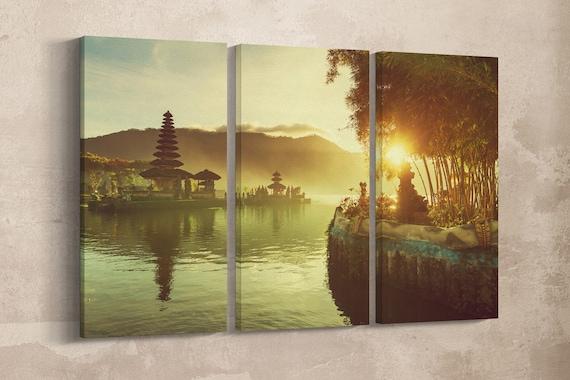 3 Panel Pura Ulun Danu Bratan Temple, Bali, Indonesia Leather Print/Bali Print/Bali Temple/Large Wall Art/Made in Italy/Better than Canvas!