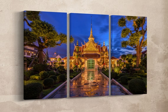 3 Panel Wat Arun Temple Bangkok Leather Print/Wat Arun Print/Large Bangkok Wall Art/Multi Panel Wall Decor/Made in Italy/Better than Canvas!