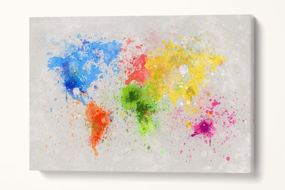 World Map Color Paint Leather Print/Large Wall Art/World Map Artwork/Large World Map/Multi Panel World Map/Made in Italy/Better than Canvas!