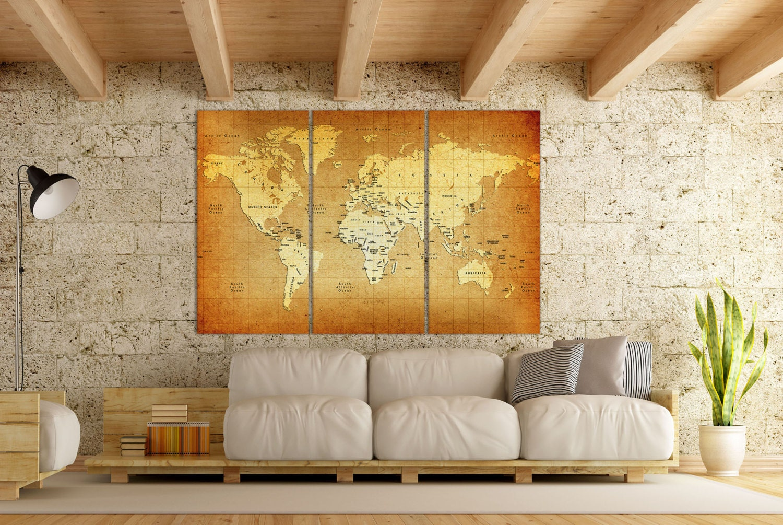 Detailed Old World Map Leather Print/Vintage World Map/Large | Etsy
