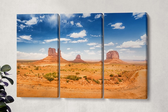 Desert Landscape Monument Valley Leather Print/Multi Panel Wall Art/Extra Large Wall Decor/Monument Valley Large Print/Better than Canvas!