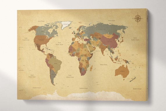 Push Pin Vintage Detailed World Map Leather Print/Big Size World Map/Large Wall Art/Push Pin Map/Extra Large World Map/Better than Canvas!