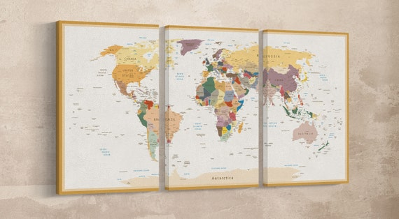 Push Pin Detailed World Map Vintage + Custom Quote Leather Print/Wall Art/Wall Decor/Large World Map/Multi Panel/Better than Canvas!