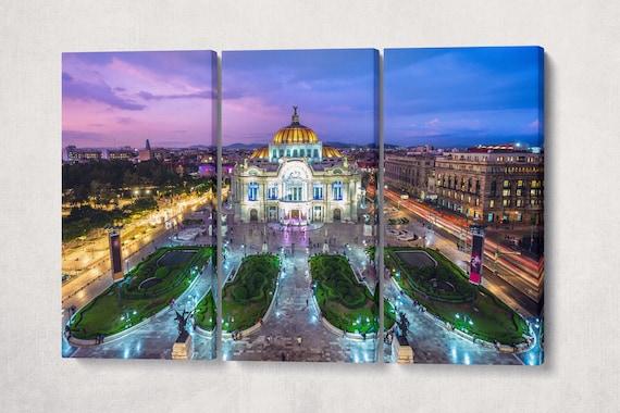 Mexico City Palacio de Bellas Artes, Palace of Fine Arts Framed Canvas Leather Print