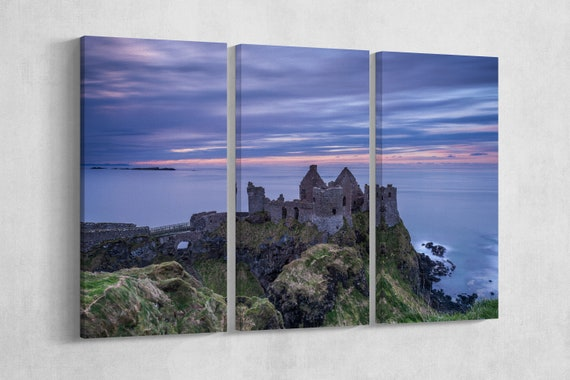 Dunluce Castle, Northern Ireland Framed Canvas Leather Print/Home Decor/Large Wall Art/Large Wall Decor/Made in Italy/Better than Canvas!