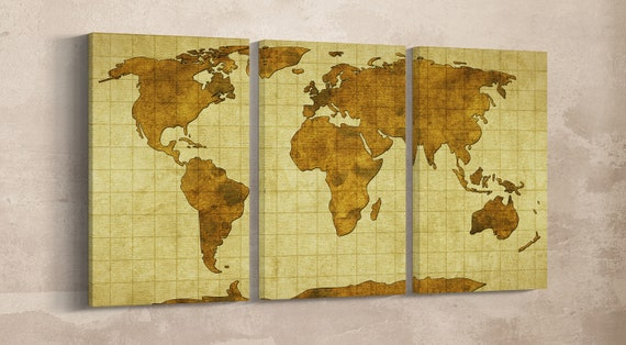 World Map on Old Paper Leather Print/Large Wall Map Print/Multi Panel World Map/World Map Wall Art/Large Wall Art/Better than Canvas!