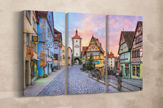 3 Panel Rothenburg ob der Tauber Leather Print/Large Wall Art/Rothenburg ob der Tauber/Wall Decor/Made in Italy/Better than Canvas!