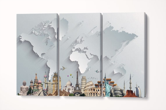Silver World Map With Monuments 3D Effect Leather Print/Large World Map/Silver World Map/Multi Pieces World Map/Better than Canvas!