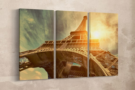 3 Pieces The Eiffel Tower under the Sun Leather Print/Vintage Filter/Wall Art/Wall Decor/Large Print/Multi Panels Print/Better than Canvas!