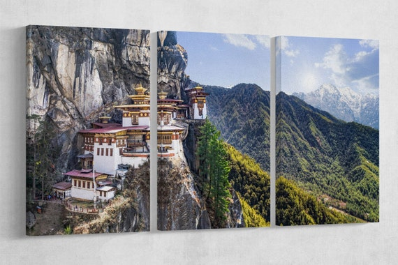 Buddhist Temple Taktshang Goemba Tiger's Nest Bhutan Framed Canvas Leather Print