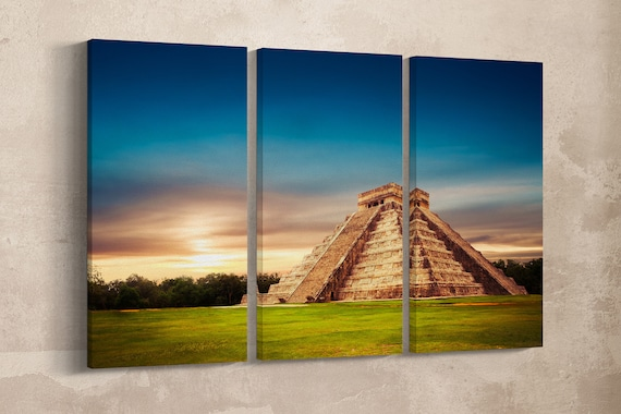 3 Panel Pyramid in Chichen Itza, Yucatan, Mexico Leather Print/Large Wall Art/Large Wall Decor/Multi Panel/Made in Italy/Better than Canvas!