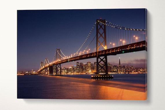 San Francisco Bay Bridge and Skyline Leather Print/Bay Bridge Large Print/Large Wall Art/Multi Panel Wall Decor/Better than Canvas!