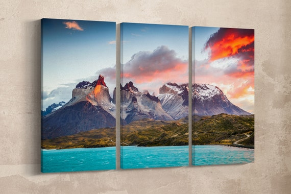Torres del Paine, Patagonia, Chile Canvas Leather Print/Large Patagonia Print/Nature Print/Large Wall Art/Made in Italy/Better than Canvas!