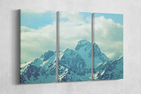 3 Panel Winter Mountains with Snow Vintage Filter Leather Print/Large Wall Art/Multi Panel Wall Art/Vintage/Made in Italy/Better than Canvas