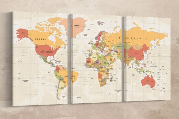Push Pin Detailed World Map Canvas Leather Print/Political Word Map/World Map Art/Travel Map/Large World Map Wall Art/Better than Canvas!