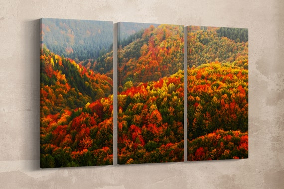 3 Pieces Orange and Red Autumn Forest Leather Print/Large Wall Art/Large Wall Decor/Multi Panel Wall Art/Made in Italy/Better than Canvas!