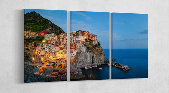 Manarola, Cinque Terre, Liguria at Twilight Leather Print/Large Manarola Print/Multi Panel Manarola Print/Large Wall Art/Better than Canvas!