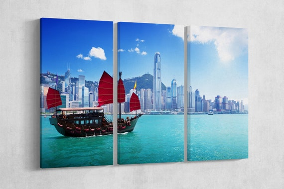 Hong Kong Harbour and Junk Boat Leather Print/Hong Kong Skyline/Large Wall Art/Large Wall Decor/Multi Panel Hong Kong/Better than Canvas!