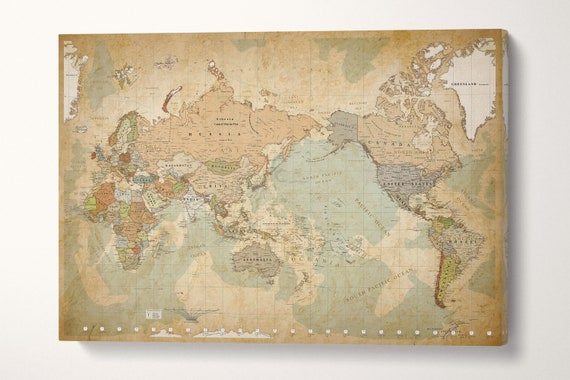 Push Pin Map of the World Africa on Left Leather Print/Large Canvas Wall Art/Vintage Map/Push Pin World Map/World Travel Map/Made in Italy