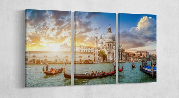 Venezia Canal Grande Santa Maria Della Salute Leather Print/Large Wall Art/Multi Piece Art/Venice Wall Art/Made in Italy/Better than Canvas!