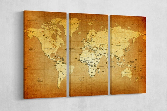Detailed Old World Map Leather Print/Vintage World Map/Large World Map/Extra Large World Map/Wall Decor/Better than Canvas!