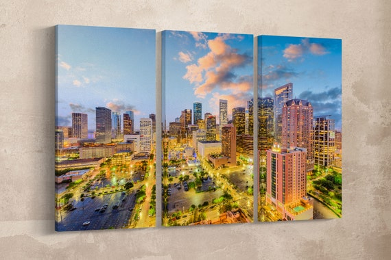 Houston Skyline Sunset Building Lights Leather Print/Large Houston Print/Wall Decor/Multi Panel Wall Art/Made in Italy/Better than Canvas!