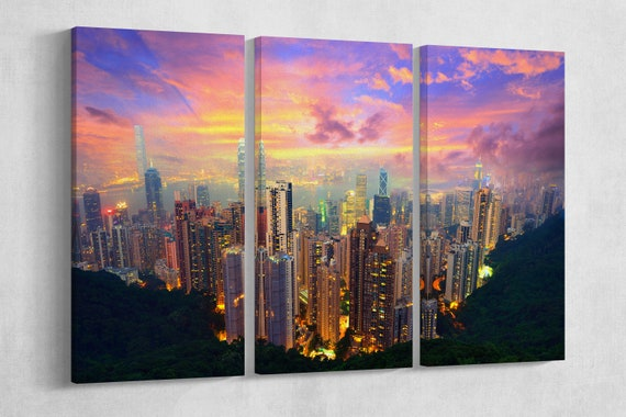 Hong Kong Skyline from Victoria Peak Leather Print/Hong Kong Canvas/Wall Art/Large Wall Art/Made in Italy/Better than Canvas!