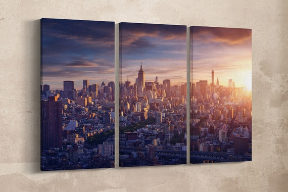 3 Panels New York City Leather Print/Wall Art/Extra Large Print/Multi Pieces Print/Made in Italy/New York/Better than Canvas!