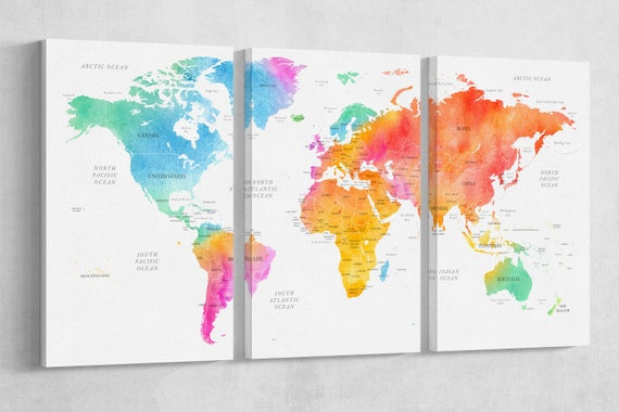 High Details Push Pin Multicolor World Map Artwork Canvas Leather Print