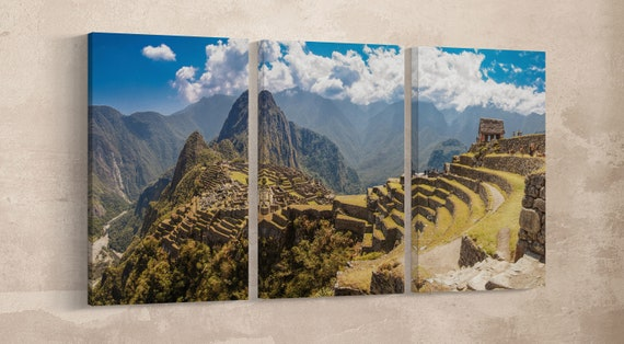 Machu Picchu Panorama Leather Print/Cuzco Region/Peru/Large Wall Art/Large Wall Decor/3 Panel Wall Art/Made in Italy/Better than Canvas!