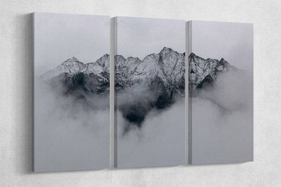 Italian Alps framed canvas leather print/Large mountain wall art/Snow mountain print/Large wall decor/Made in Italy/Better than Canvas!