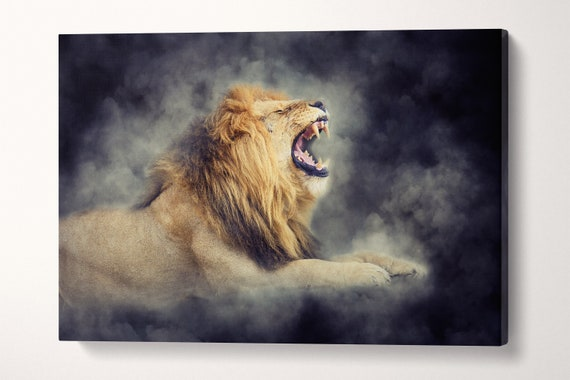 Roaring Lion Artwork Eco Leather Print/Large Wall Art/Large Wall Decor/Animal Print/Large Canvas Print/Made in Italy/Better than Canvas!