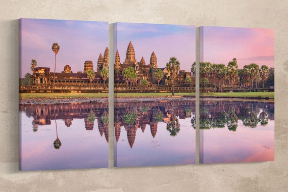Angkor Wat Temple at Sunrise Leather Print/Large Wall Art/Large Wall Decor/Angkor Wat Large Print/Cambodia Large Print/Better than Canvas!