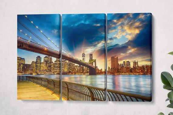 Brooklyn Bridge Leather Print/New York Print/Manhattan Print/Brooklyn Bridge Wall Art/Extra Large Brooklyn Bridge Print/Better than Canvas!