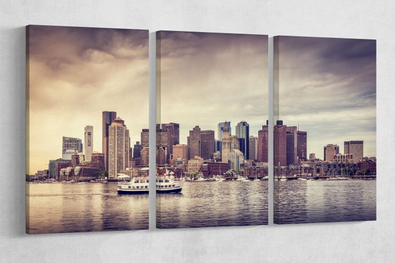 Skyline of Boston Leather Print/Large Wall Art/Large Wall Decor/Multi Panel Boston Print/Boston Skyline/Made in Italy/Better than Canvas!