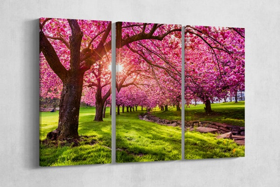 3 Panel Cherry Tree Blossom Leather Print/Nature Canvas/Large Wall Art/Large Wall Decor/Multi Panel Print/Made in Italy/Better than Canvas!