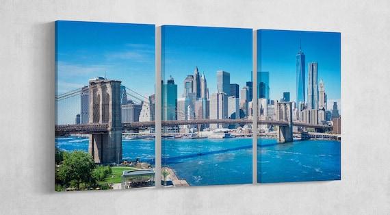 New York Brooklyn Bridge Leather Print/New York Large Print/Brooklyn Bridge Large Print/Large Wall Art/Multi Panel Print/Better than Canvas!